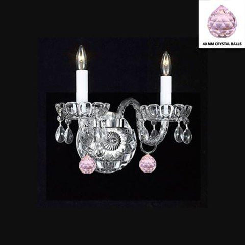 Swarovski Crystal Trimmed Chandelier Murano Venetian Style Crystal Wall Sconce Lighting With Pink Balls - Perfect For Kid'S And Girls Bedroom - A46-B76/2/386 Sw
