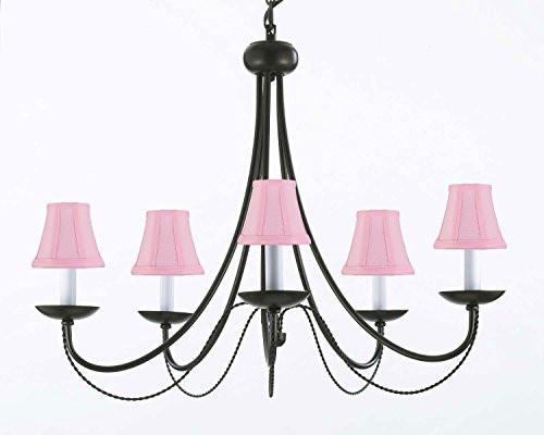 "Wrought Iron Chandelier Lighting With Pink Shades H22"" X W26"" Swag Plug In-Chandelier W/ 14' Feet Of Hanging Chain And Wire - J10-Pinkshades/B16/26031/5"