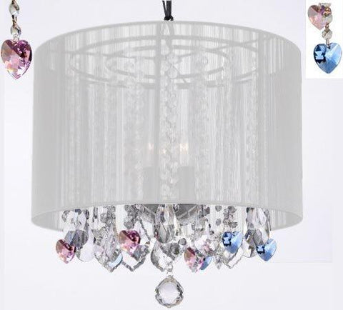 "Crystal Chandelier Chandeliers With Large White Shade And Blue And Pink Crystal Hearts H15"" X W15"" - Perfect For Kids' And Girls Bedrooms - G7-B85/B21/White/604/3"
