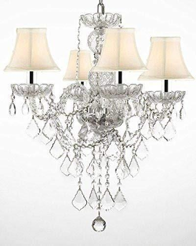 "Authentic All Crystal Chandelier Chandeliers Lighting with White Shades w/Chrome Sleeves H22"" x W17"" - G46-B43/WHITESHADES/3/275/4"