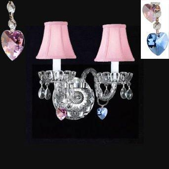 Swarovski Crystal Trimmed Chandelier Murano Venetian Style Crystal Wall Sconce Lighting Blue And Pink Hearts With Pink Shades - Perfect For Boys And Girls Bedroom - A46-B85/B21/Pinkshades/2/386Sw