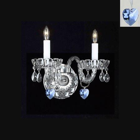 Swarovski Crystal Trimmed Chandelier Murano Venetian Style Crystal Wall Sconce Lighting With Blue Hearts - Perfect For Boys And Girls Bedroom - A46-B85/2/386Sw