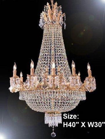 "French Empire Crystal Chandelier H40"" X W30"" - A93-1280/10+5"