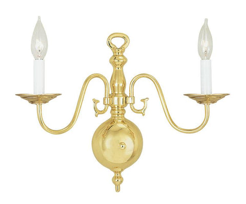 Livex Williamsburgh 2 Light Polished Brass Wall Sconce - C185-5002-02