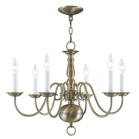 Livex Williamsburgh 6 Light Antique Brass Chandelier - C185-5006-01