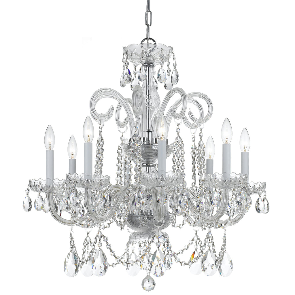 8 Light Polished Chrome Crystal Chandelier Draped In Clear Hand Cut Crystal - C193-5008-CH-CL-MWP