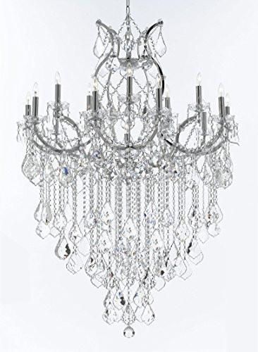 "Swarovski Crystal Trimmed Chandelier Maria Theresa Chandelier Lighting Crystal Chandeliers H50 ""X W37"" Chrome Finish Great For The Dining Room Living Room Family Room Entryway / Foyer - J10-B12/Chrome/26050/15+1Sw"