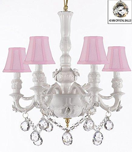 Authentic Capodimonte White Porcelain Chandelier Lighting Chandeliers Cottage Chic Made in Italy, Good for Dining Room, Kids & Girls Bedrooms w/ Roses & Flowers Speciality item, W/ Crystal Balls With Pink Shades - GB102-SC/PINKSHADE/B52/B6/WHITE/435/6
