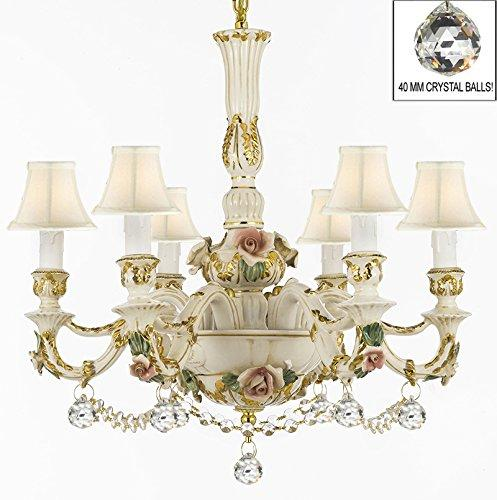 Authentic Capodimonte Porcelain Chandelier Lighting Chandeliers Cottage Chic Made in Italy Dressed w/ Crystals and Crystal Balls With White Shades - GB102-SC/WHITESHADE/B52/B6/435/6