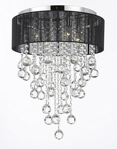 Flushmount 4-Light Chrome And Black Shade Empress Crystal (Tm) Chandelier Lighting - G7-3/Black/2130/4