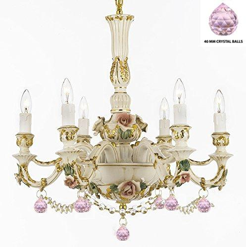 Authentic Capodimonte Porcelain Lighting Chandelier Made in Italy, Trimmed w/ Roses & Flowers Dressed w/ Crystals and Balls Trimmed with Spectra Crystal – Reliable Crystal Quality By Swarovski - GB102-B52/B76/435/6SW