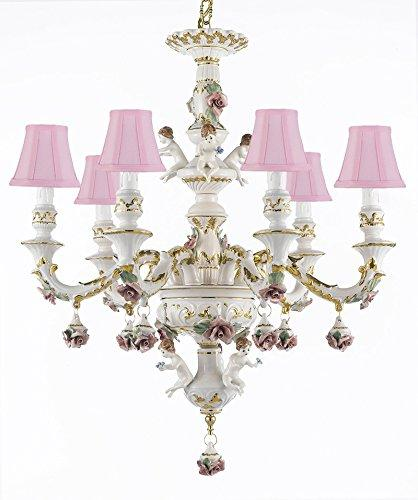 Authentic Capodimonte Porcelain Chandelier Lighting w/ Cherub Angels Made in Italy Good for Dining Room, Kids & Girls Bedrooms 24K Gold Trimmed w/ Roses & Flowers - With Pink Shades - GB102-SC/Pinkshades/119/6