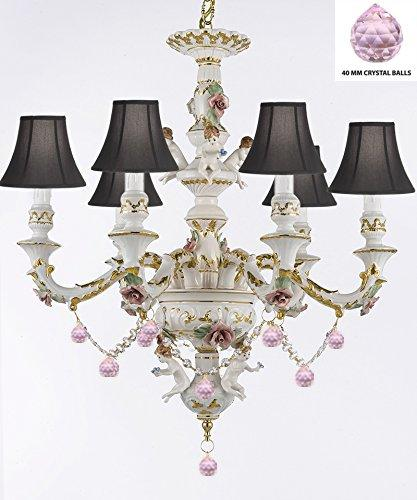 Authentic Capodimonte Porcelain Chandelier Lighting Chandeliers w/ Cherub Angels W/ Pink Balls w/ Black Shades Made in Italy Trimmed w/ Roses & Flowers-Limited Stock Available - GB102-SC/BLACKSHADES/B76/119/6