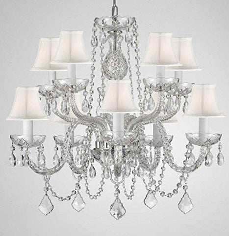 "Swarovski Crystal Trimmed Chandelier Crystal Chandelier Lighting With White Shades H 25"" X W 24"" - G46-Whiteshades/Cs/1122/5+5 Sw"