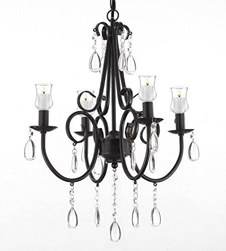 Wrought Iron & Crystal 4 Light Rustic Chandelier Lighting W/ Candle Votives For Indoor/Outdoor Use ! Great for Outdoor Events ! Hardwire and Plug In - B31-SCL1459CRT