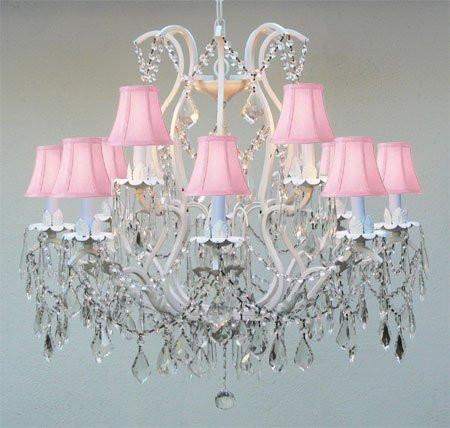 White Wrought Iron Crystal Chandelier Lighting With Pink Shades ... - J10-PINKSHADES/WHITE/26014/12