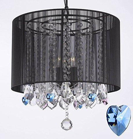 "Crystal Chandelier Chandeliers With Large Black Shade And Blue Crystal Hearts H15"" X W15"" - Perfect For Kids' And Girls Bedrooms - G7-B85/Black/Sm/604/3"