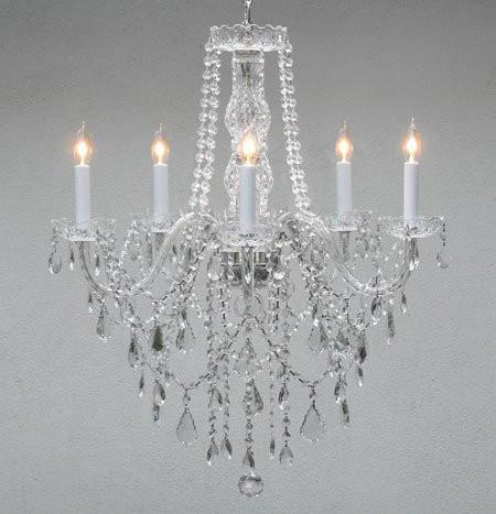 "Swarovski Crystal Trimmed Chandelier Authentic All Crystal Chandelier Lighting H30"" X W24"" - G46-3/384/5 Sw"