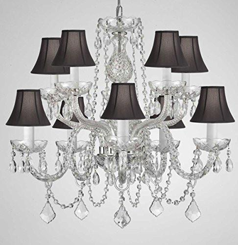 "Swarovski Crystal Trimmed Chandelier Crystal Chandelier Lighting With Black Shades H 25"" X W 24"" Swag Plug In-Chandelier W/ 14' Feet Of Hanging Chain And Wire - G46-B15/Blackshades/Cs/1122/5+5"