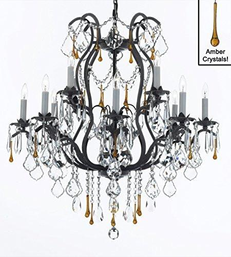 "Wrought Iron Crystal Chandelier Lighting Chandeliers Dressed With Amber Crystals Dining Room Entryway Living Room H30"" X W28"" - A83-3037/8+4Amber"
