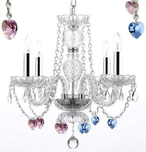 "Swarovski Crystal Trimmed Chandelier! Chandelier Lighting W/Crystal Blue and Pink Hearts w/Chrome Sleeves! H 17"" W17"" - Perfect for Kid's and Girls Bedroom! - G46-B43/B85/B21/275/4 SW"