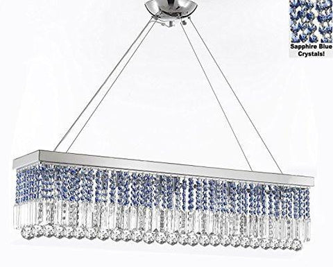 "10 Light 40"" Contemporary Crystal Chandelier Rectangular Chandeliers Lighting -Trimmed With Sapphire Blue Crystal - G902-B86/1120/10"