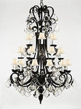 "Wrought Iron Chandelier 50"" Inches Tall With Crystal Trimmed With Spectra (Tm) Crystal - Reliable Crystal Quality By Swarovski - A84-B12/Sc/724/24Sw"