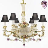 Authentic Capodimonte Porcelain Chandelier Lighting Chandeliers Made in Italy, 24K Gold Trimmed w/ Roses & Flowers Dressed w/ Crystals and Hearts With Black Shades - GB102-SC/BLACKSHADE/B52/B21/435/6