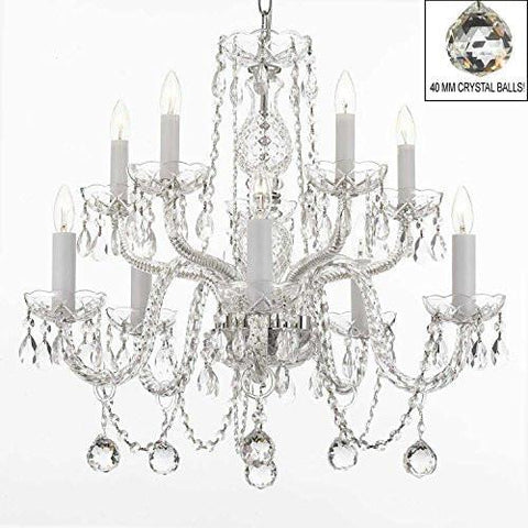 Swarovski Crystal Trimmed Chandelier All Crystal Chandelier With 40Mm Crystal Balls - A46-B6/Cs/1122/5+5 Sw