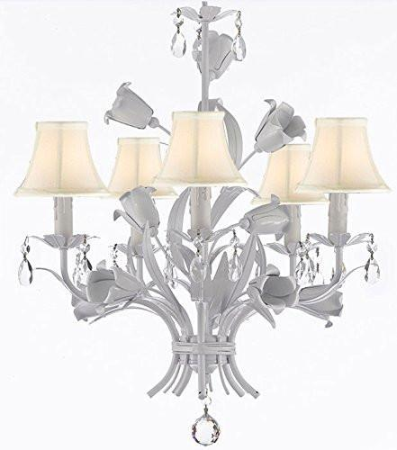 "White Wrought Iron Floral Chandelier Empress Crystal(Tm) Flower Chandeliers Lighting H23"" X W19"" With Shades - A7-Sc/Whiteshades/B39/White/325/5"