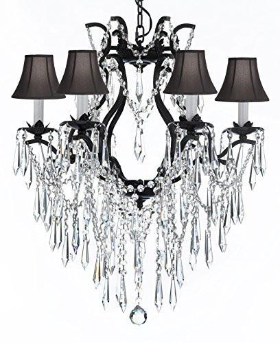 "Wrought Iron Empress Crystal (Tm) Chandelier Lighting With Black Shades H 19"" W 20"" - A83-Sc/Blackshade/B27/3530/6"