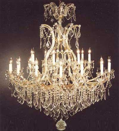 "Swarovski Crystal Trimmed Chandelier Chandelier Crystal Chandeliers Lighting Dressed W/ Swarovski Crystal H52"" W46"" - A83-52/2Mt/24+1Sw"