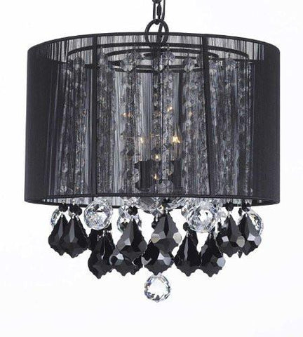 Drum shade chandeliers page 2 gallery 67 crystal chandelier with large black shade jet black crystal pendants and clear crystal 40mm balls h15 mozeypictures Images