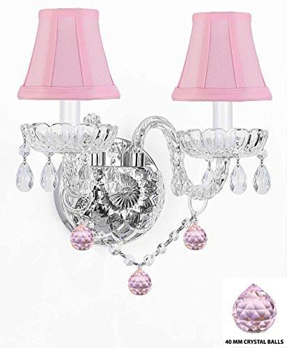 Swarovski Crystal Trimmed Chandelier Wall Sconce Lighting With Crystal Pink Balls - Perfect For Kids And Girls Bedrooms With Shades - G46-Pinkshades/B76/2/386Sw