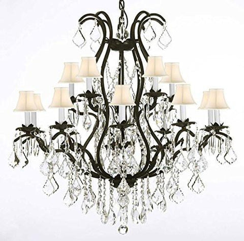 "Wrought Iron Chandelier Crystal Chandeliers Lighting Empress Crystal (Tm) H36"" X W36"" With Shades - A83-Whiteshades/3034/10+5"