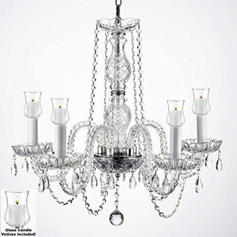 "Crystal Chandelier W/ Candle Votives H.25"" W.24"" For Indoor / Outdoor Use Great For Outdoor Events Hang From Trees / Gazebo / Pergola / Porch / Patio / Tent - G46-B31/384/5"
