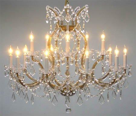 "Swarovski Crystal Trimmed Maria Theresa Chandelier Crystal Lighting Chandeliers Lights Fixture Pendant Ceiling Lamp For Dining Room Entryway Living Room H28"" X W37"" - A83-1514/15+1Sw"