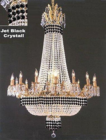 "Empire Crystal Chandelier Chandeliers Lighting Dressed With Jet Black Crystals! Great for the Dining Room Foyer Living Room! H50"" X W40"" - G81-B79/1280/14+7"