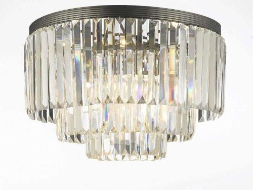 "Palladium Empress Crystal (Tm) Glass Fringe 3-Tier Flush Chandelier Lighting W 19.75"", 17.5""- G7-Flush/1100/9"