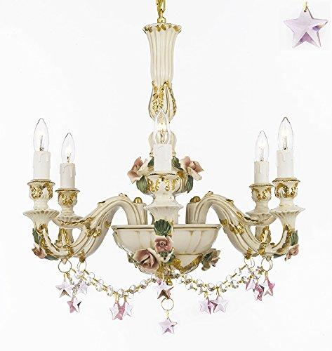 Authentic Capodimonte Porcelain Chandelier Lighting Chandeliers Cottage Chic Made in Italy, 24K Gold Trimmed w/ Roses & Flowers Dressed w/ Pink Stars Crystals - GB102-B52/B38/435/6