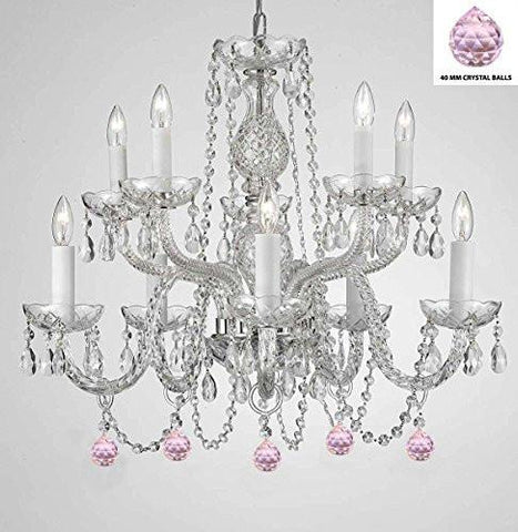Empress Crystal (Tm) Chandelier Chandeliers Lighting With Pink Color Crystal Balls - G46-B76/1122/5+5