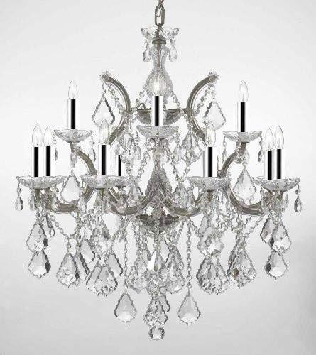 "Chandelier Lighting Crystal Chandeliers w/Chrome Sleeves H30""X W28"" - F83-B43/Silver/B7/21532/12+1"