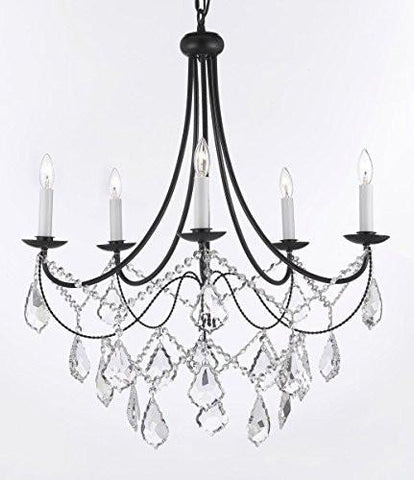 "Wrought Iron Chandelier Lighting H22.5"" X W26"" Trimmed With Spectra (Tm) Crystal - Reliable Crystal Quality By Swarovski - A7-B12/26031/5Sw"