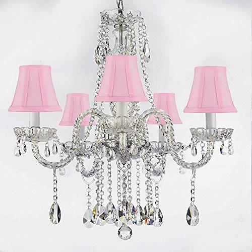 "Authentic All Crystal Chandeliers Lighting Empress Crystal (Tm) Chandeliers With Pink Shades H27"" X W24"" - G46-Pinkshades/B14/384/5"