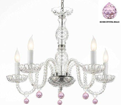 "Murano Venetian Style Chandelier Lighting With Pink Crystal Balls H 25"" W 24"" - Perfect For Kid'S And Girls Bedroom - G46-B76/B11/384/5"