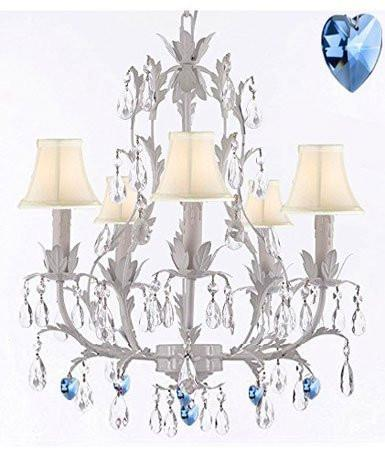 White Wrought Iron Floral Chandelier Lighting W/ Blue Hearts And Shades - J10-Sc/Whiteshade/B85/White/26016/5