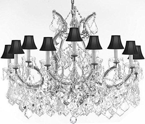 "Maria Theresa Chandelier Crystal Lighting Chandeliers Lights Fixture Pendant Ceiling Lamp For Dining Room Entryway Living Room With Large Luxe Diamond Cut Crystals H28"" X W37"" - A83-Cs/B89/21510/15+1-Blackshadesdc"