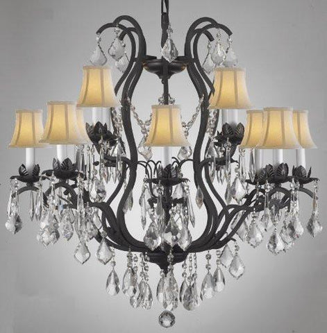Wrought Iron Crystal Chandelier Lighting With Shades - A83-Whiteshades/3034/8+4