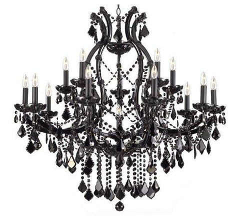 Jet Black Chandelier Crystal Lighting Chandeliers 37X38 - A83-Black/21510/15+1