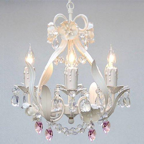White Iron Crystal Flower Chandelier Lighting W/ Pink Crystal Hearts - Perfect For Kid'S And Girls Bedroom - J10-B21/White/26027/4